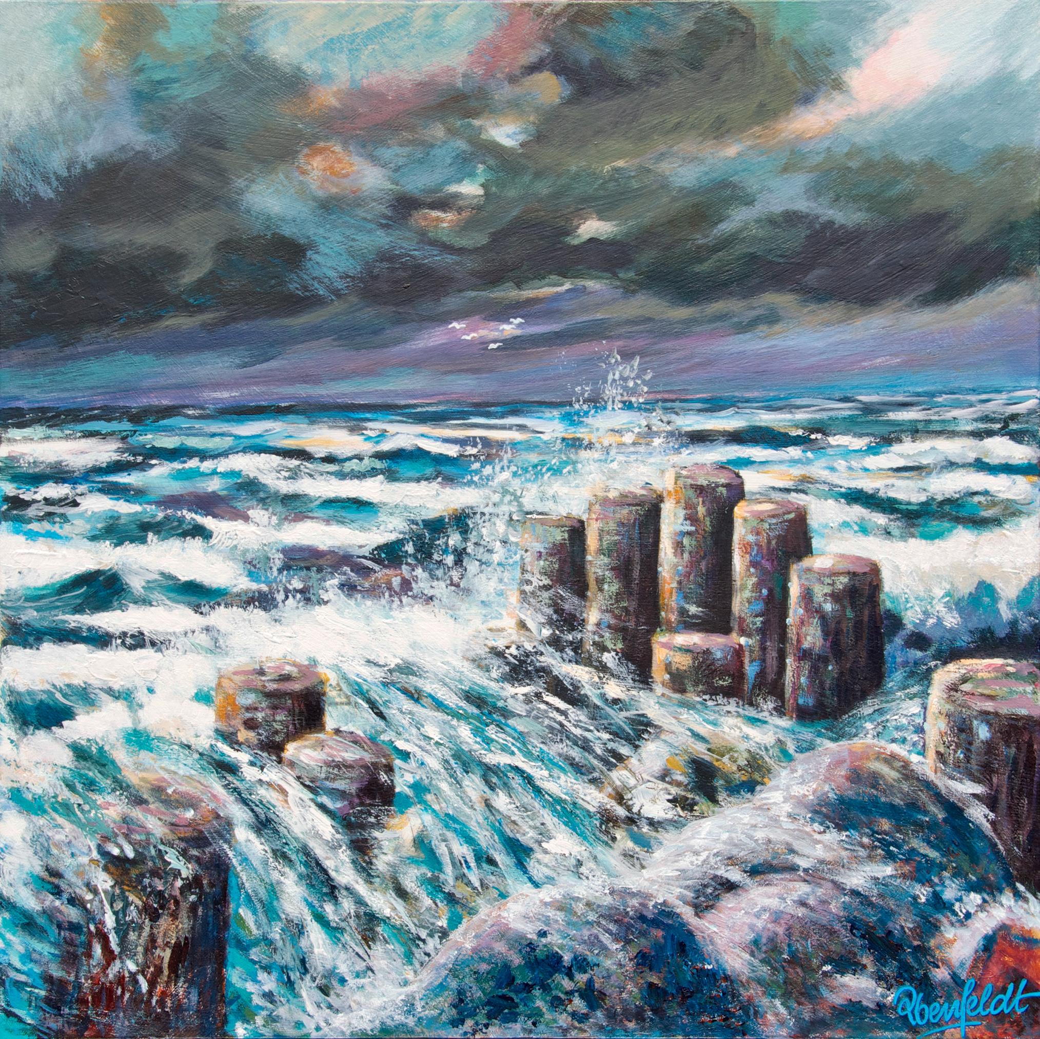 Storm ved Vesterhavet 60 x 60 cm, AKRYL PÅ LÆRRED